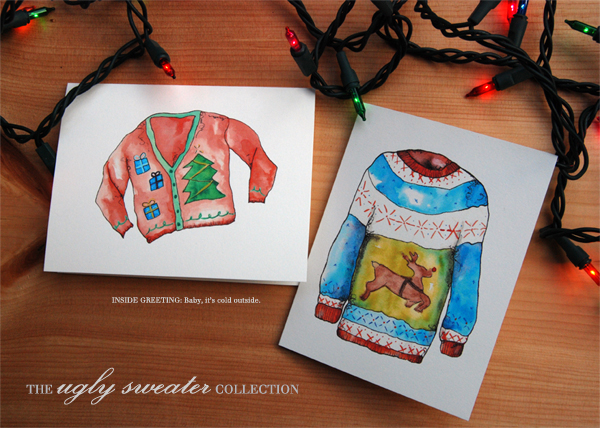 Ugly Sweaters Greeting cards